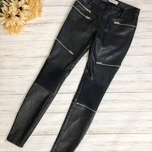 Zara Faux Leather Moto Leggings Black